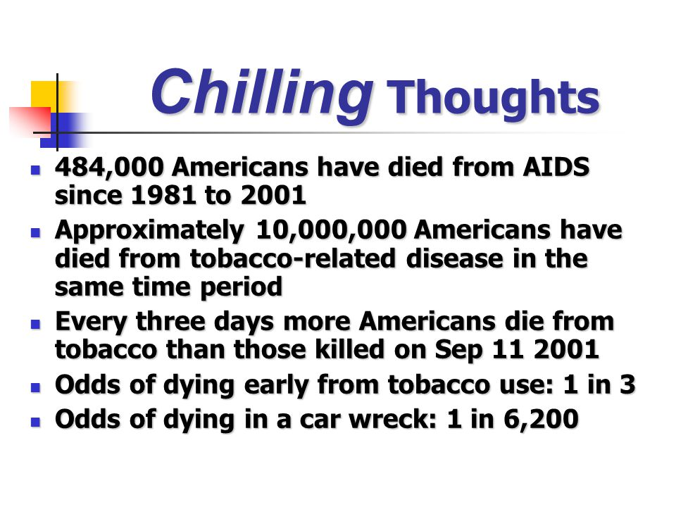 Chilling Thoughts 484,000 Americans have died from AIDS since 1981 to 2001.