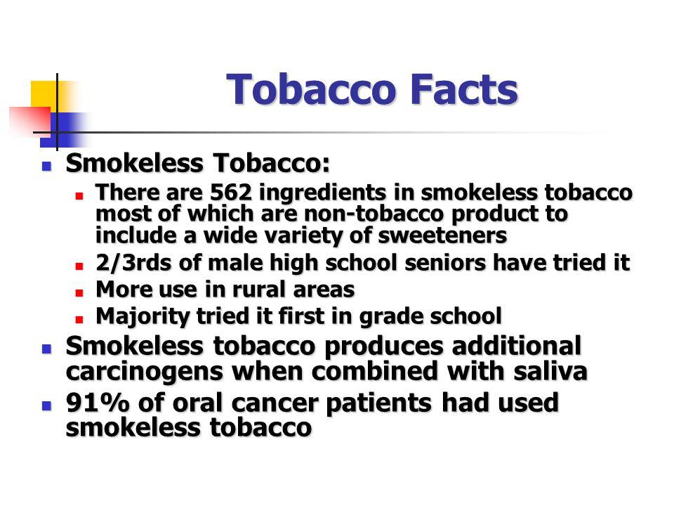 Tobacco Facts Smokeless Tobacco: