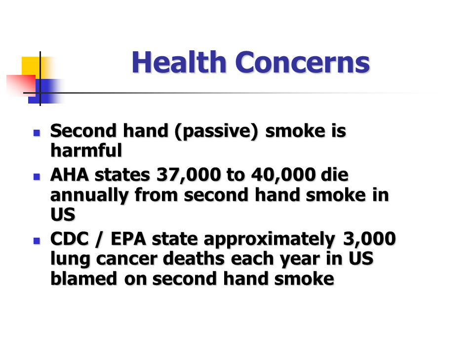 Health Concerns Second hand (passive) smoke is harmful