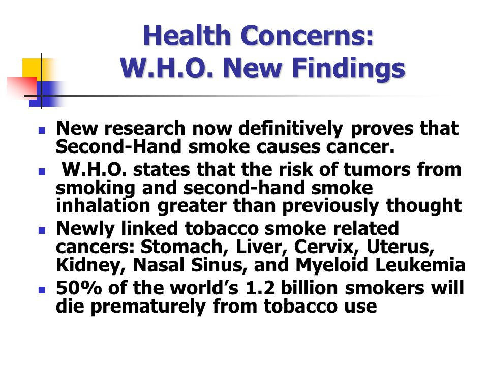 Health Concerns: W.H.O. New Findings