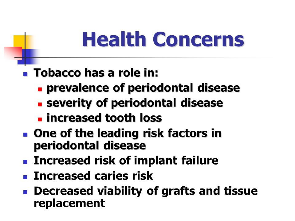 Health Concerns Tobacco has a role in:
