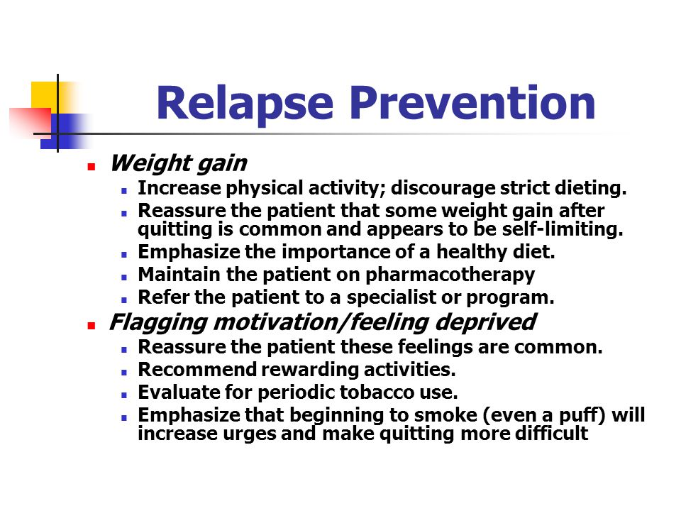 Relapse Prevention Weight gain Flagging motivation/feeling deprived