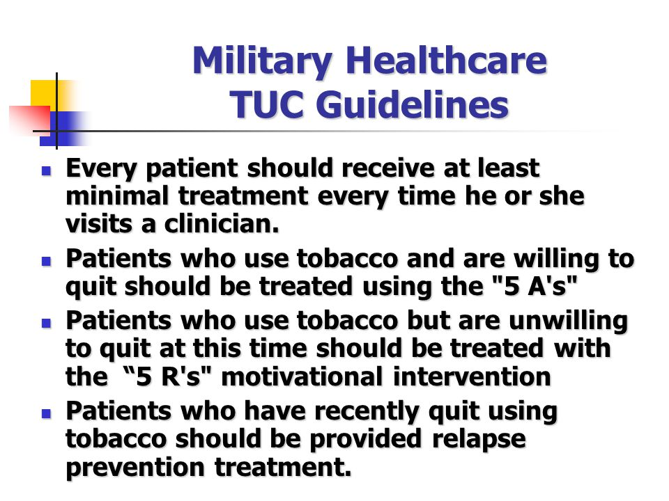 Military Healthcare TUC Guidelines