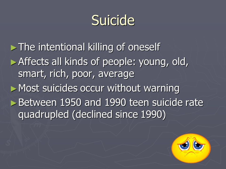 Suicide The intentional killing of oneself