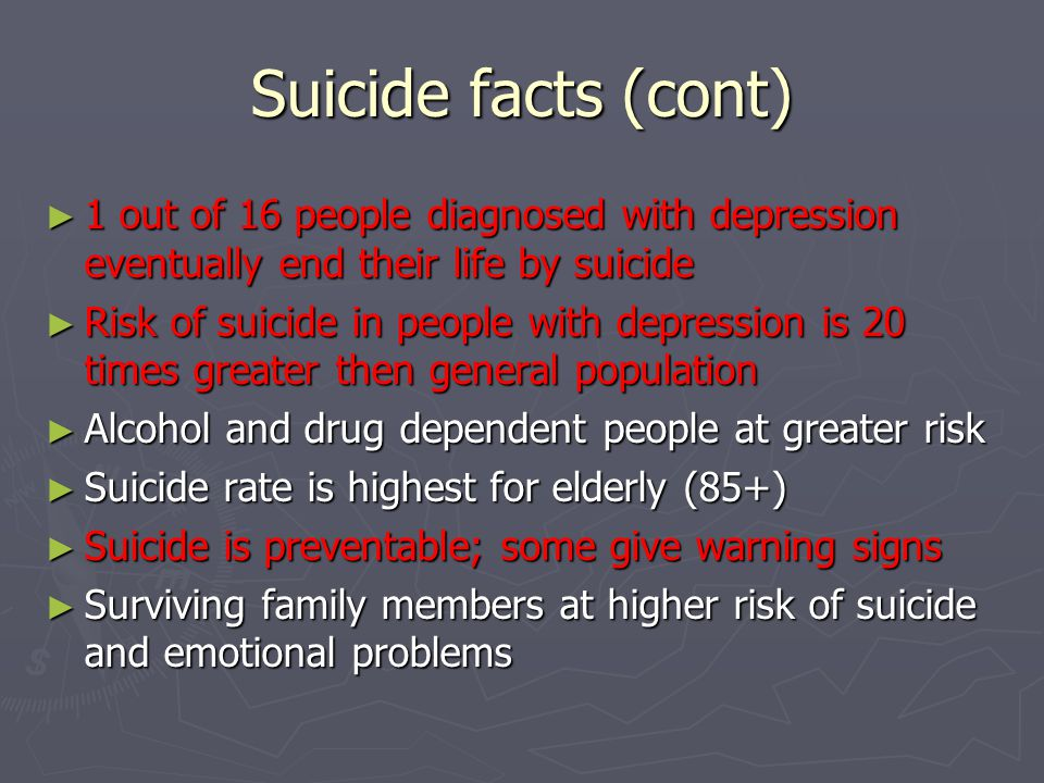 Suicide facts (cont) 1 out of 16 people diagnosed with depression eventually end their life by suicide.