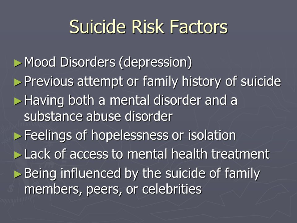 Suicide Risk Factors Mood Disorders (depression)