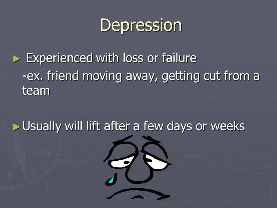 Depression Experienced with loss or failure