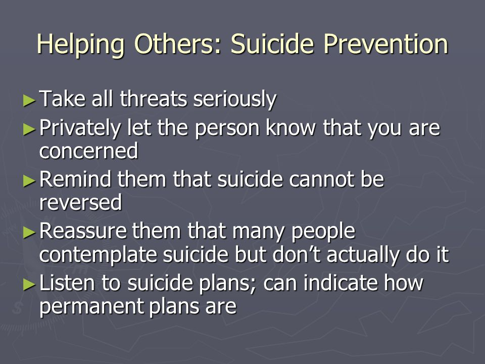 Helping Others: Suicide Prevention