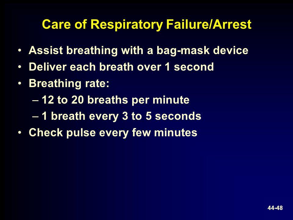 Care of Respiratory Failure/Arrest