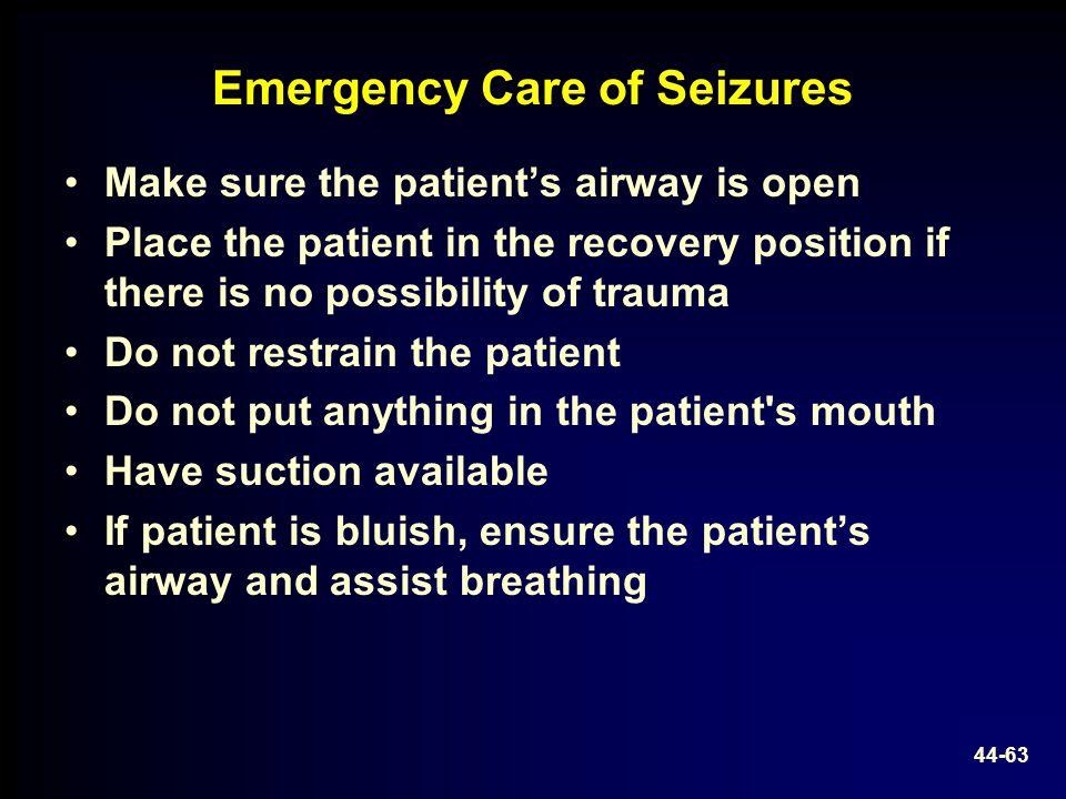 Emergency Care of Seizures