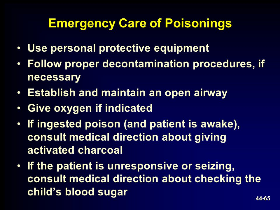 Emergency Care of Poisonings