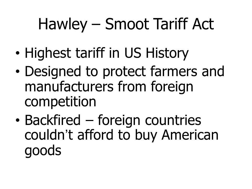 Hawley – Smoot Tariff Act