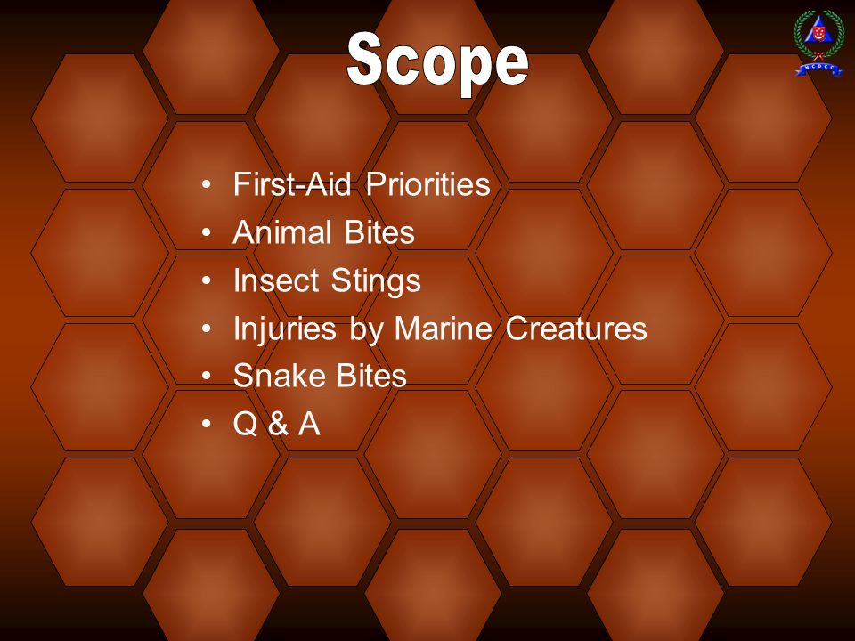 Scope First-Aid Priorities Animal Bites Insect Stings
