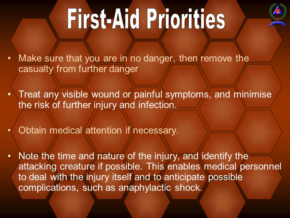 First-Aid Priorities Make sure that you are in no danger, then remove the casualty from further danger.