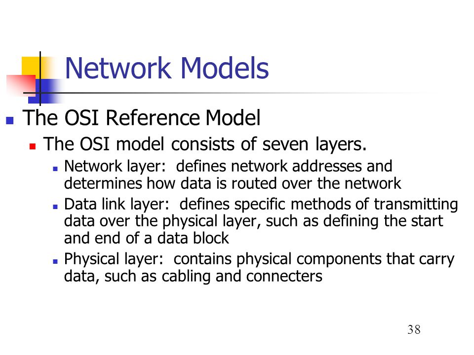 Network Models The OSI Reference Model