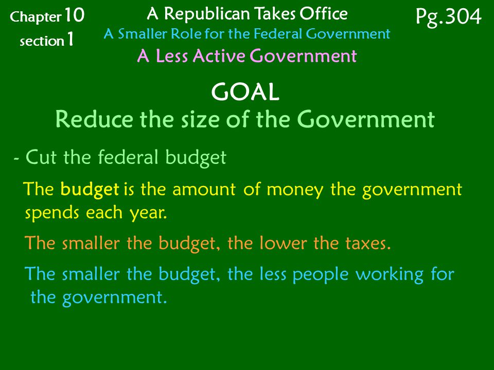 GOAL Reduce the size of the Government