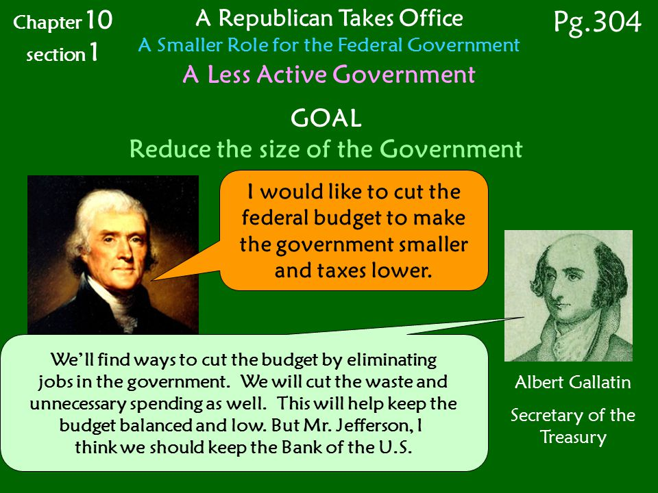 Pg.304 A Less Active Government GOAL Reduce the size of the Government