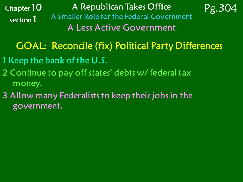 Pg.304 GOAL: Reconcile (fix) Political Party Differences