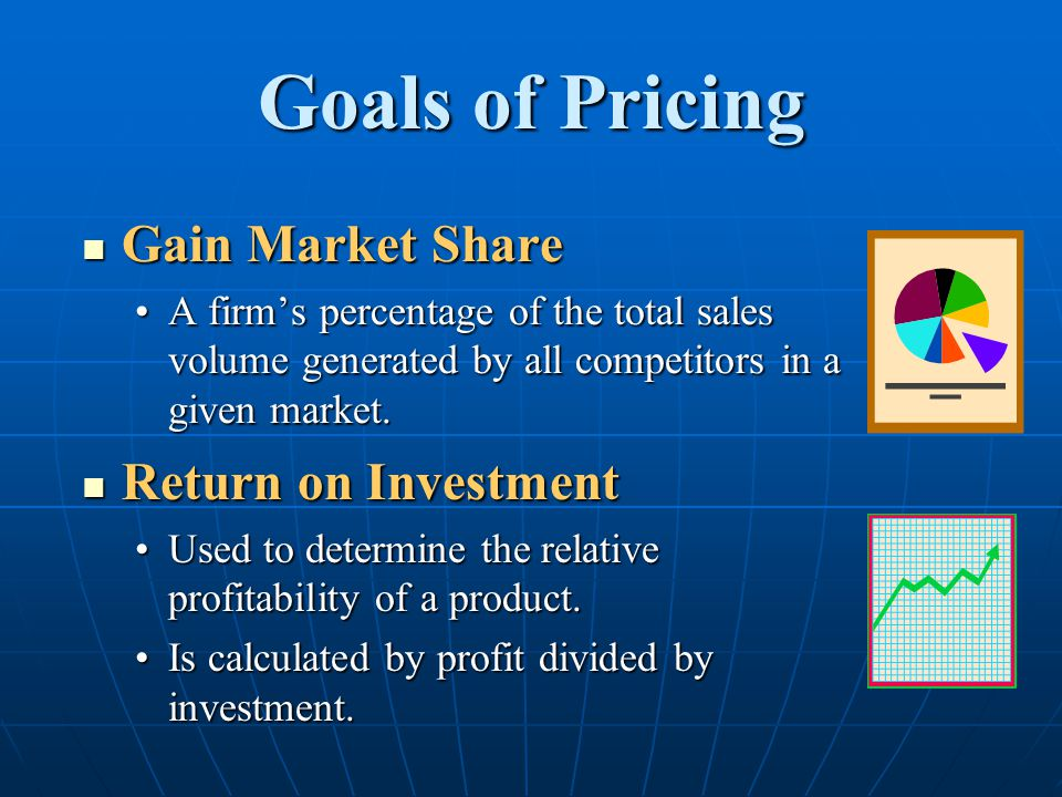 Goals of Pricing Gain Market Share Return on Investment
