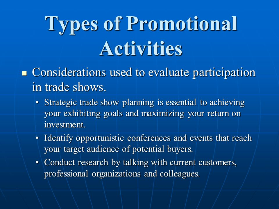 Types of Promotional Activities