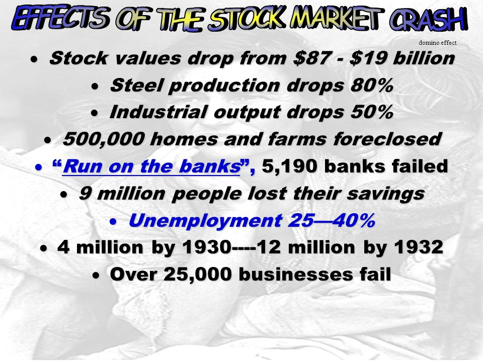 EFFECTS OF THE STOCK MARKET CRASH