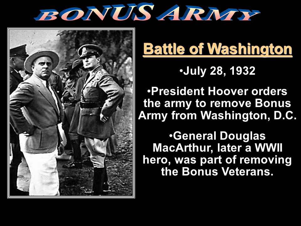 BONUS ARMY Battle of Washington July 28, 1932