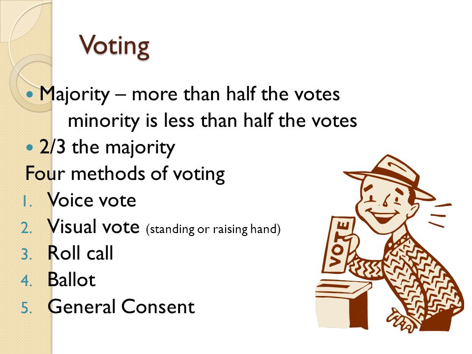 Voting Majority – more than half the votes
