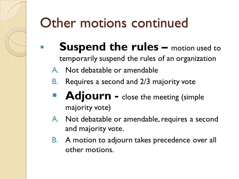Other motions continued