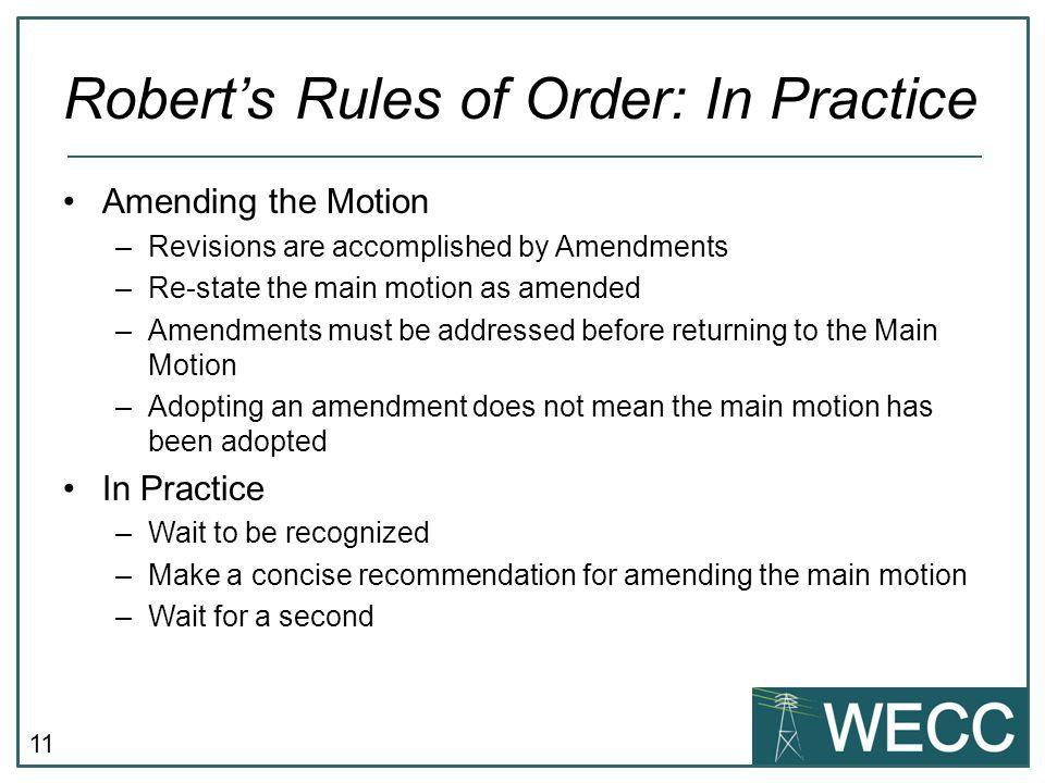 Robert's Rules of Order: In Practice