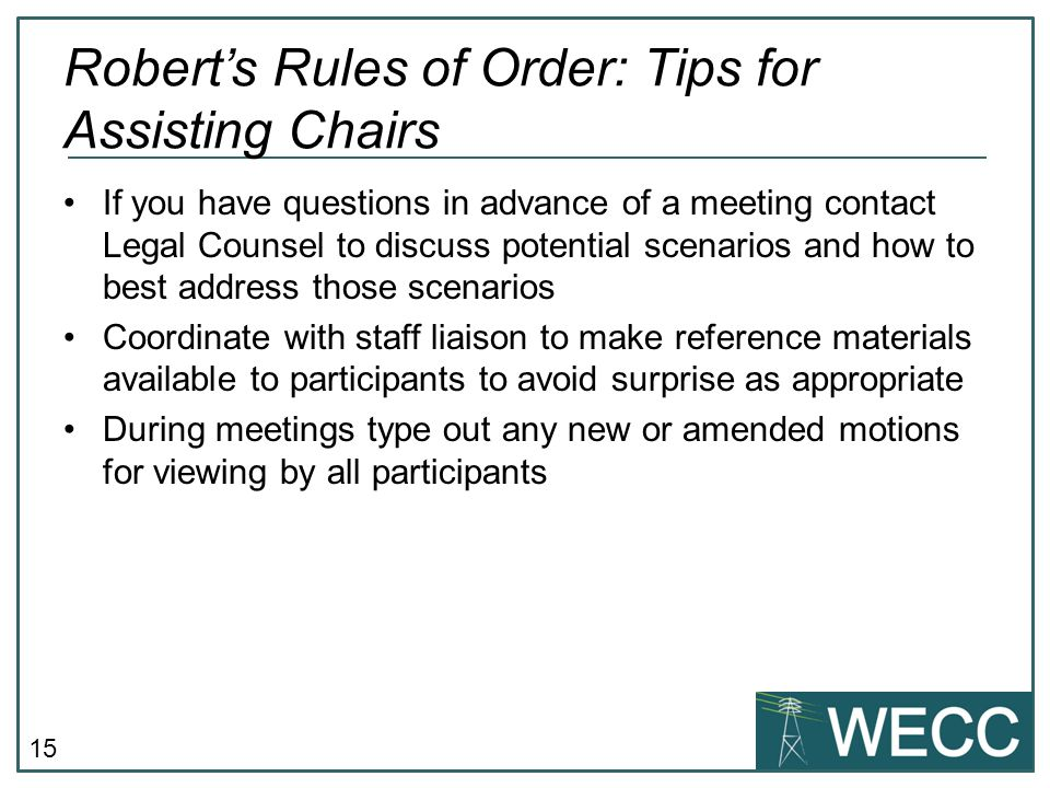 Robert's Rules of Order: Tips for Assisting Chairs