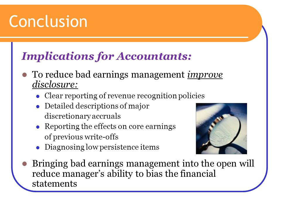 Conclusion Implications for Accountants: