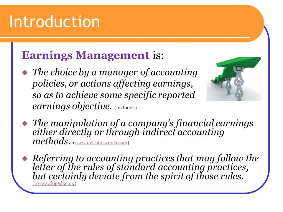 earnings management through real activities manipulation Management through accrual analysis based on information on consolidated  financial  managers use to manipulate earnings is through real activities or  real.