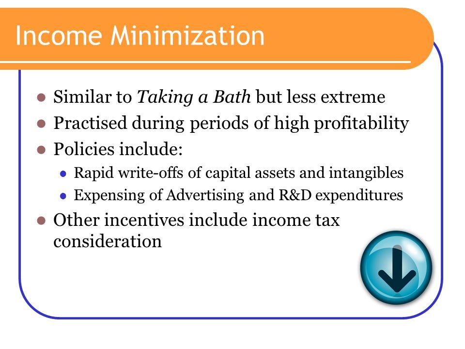 Income Minimization Similar to Taking a Bath but less extreme