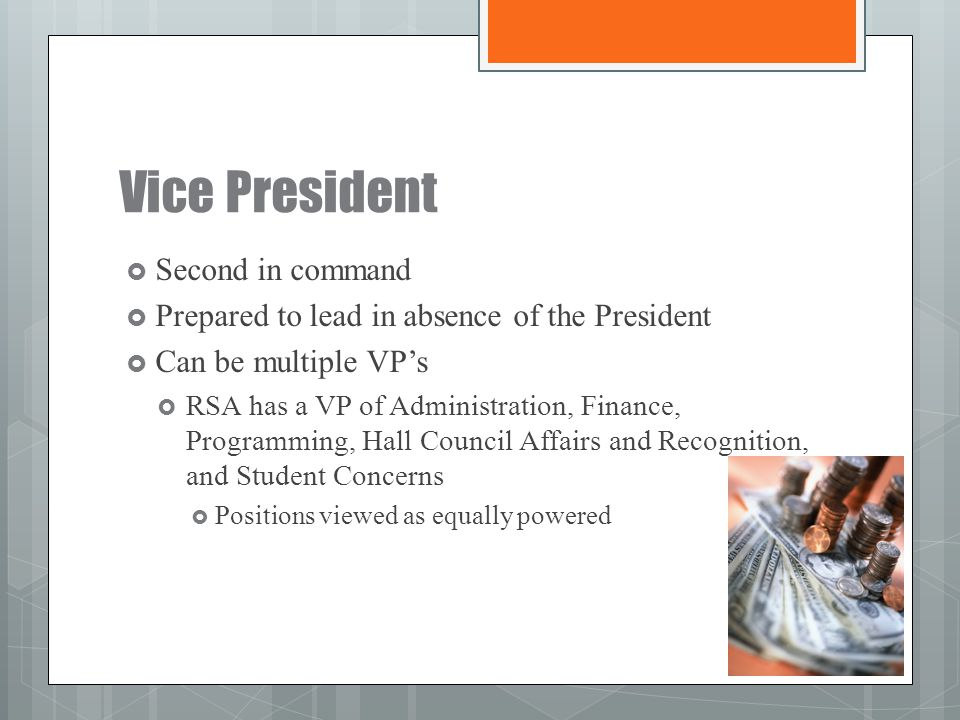 Vice President Second in command