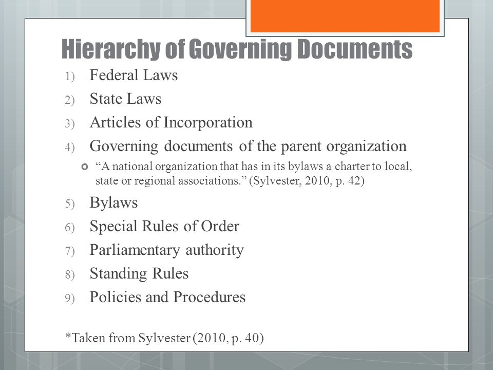 Hierarchy of Governing Documents