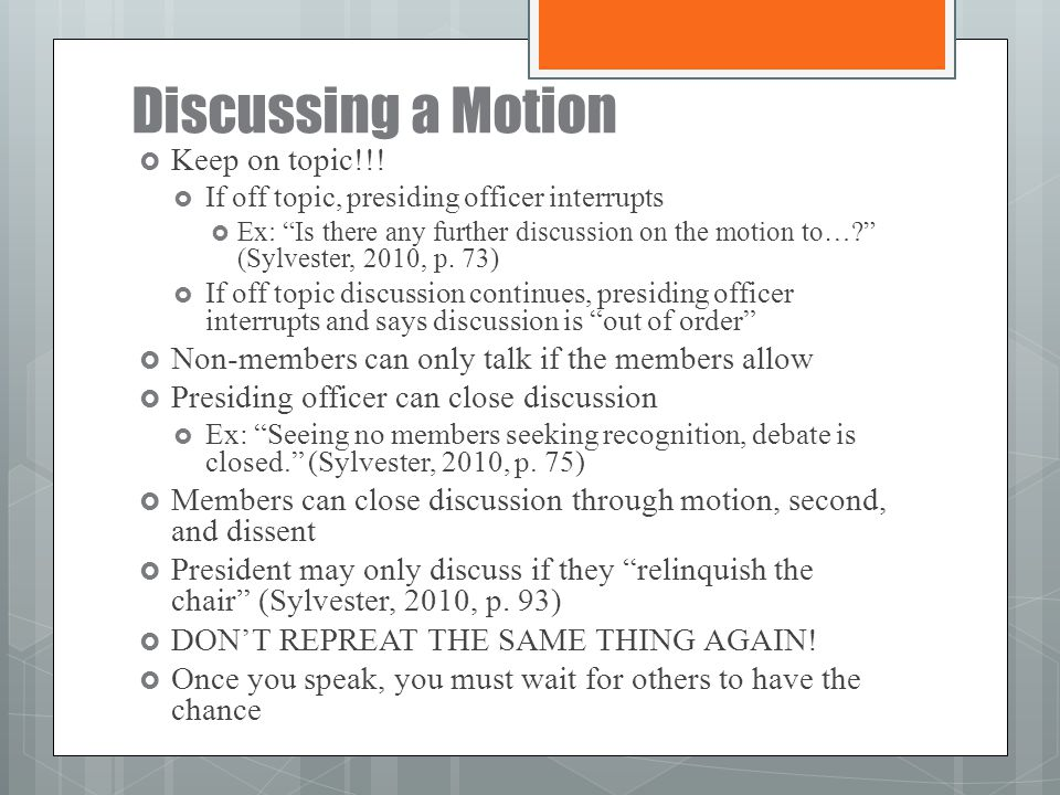 Discussing a Motion Keep on topic!!!