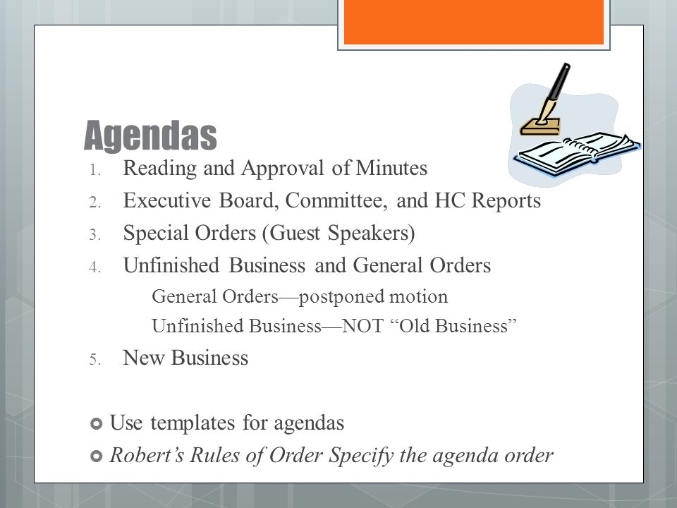 Agendas Reading and Approval of Minutes