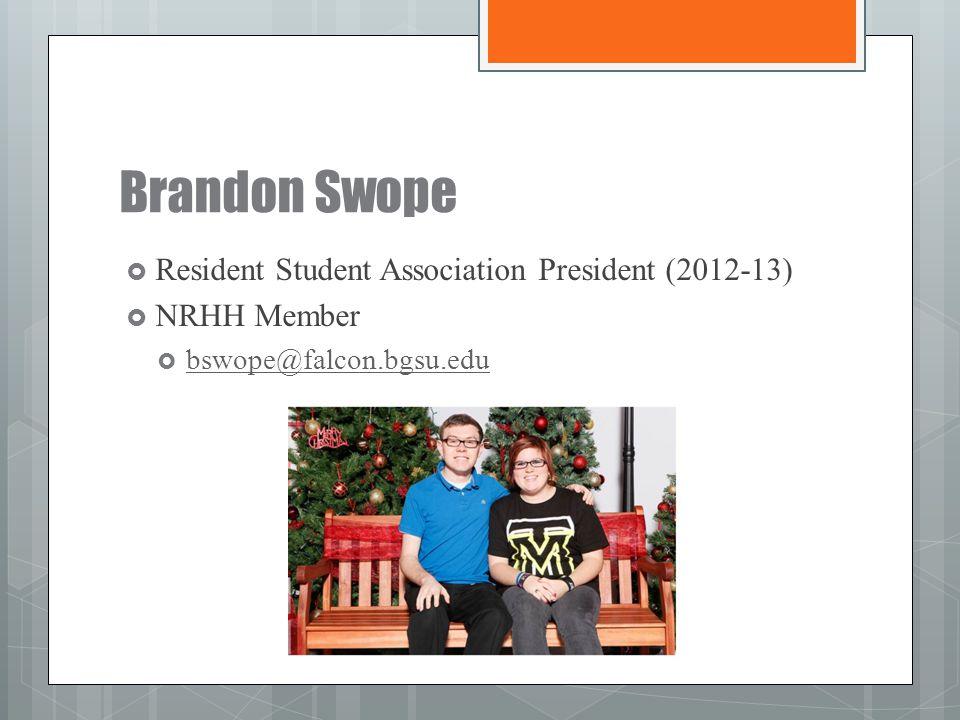 Brandon Swope Resident Student Association President (2012-13)