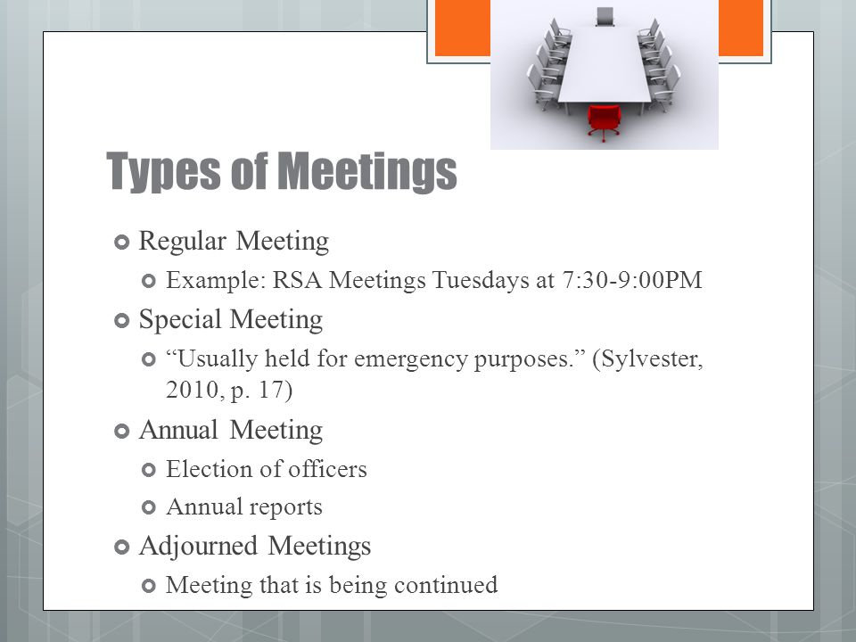 Types of Meetings Regular Meeting Special Meeting Annual Meeting