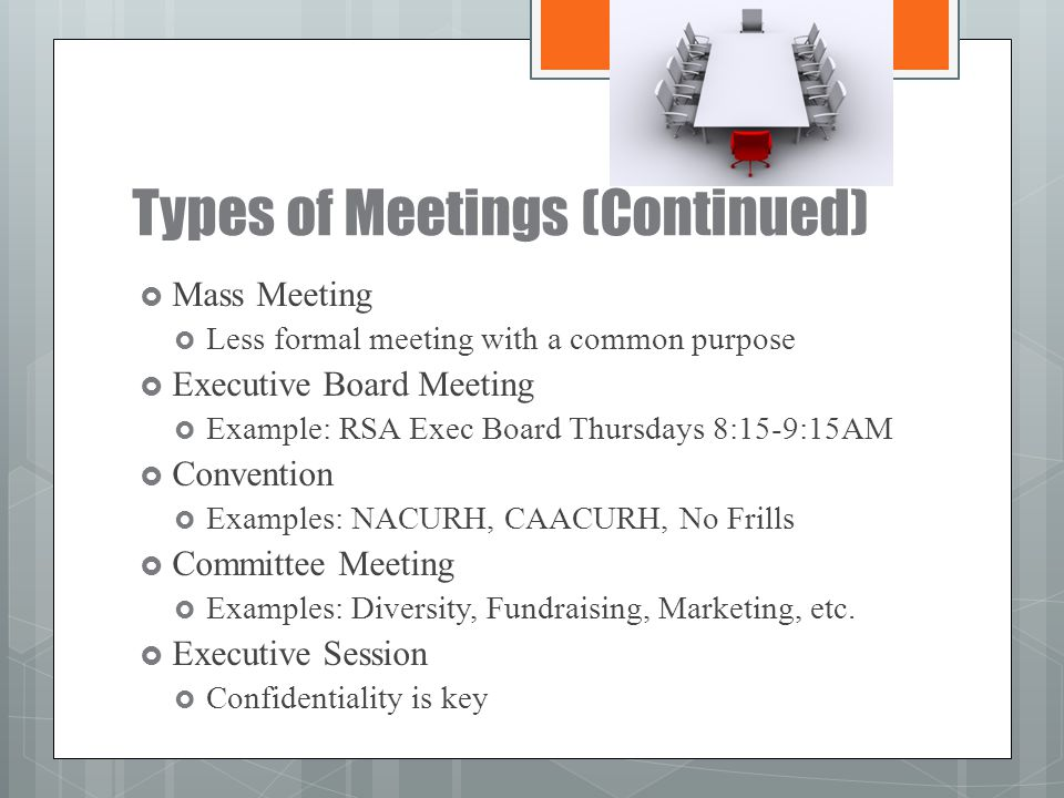 Types of Meetings (Continued)