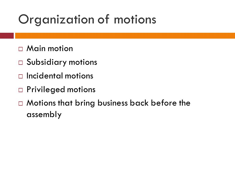 Organization of motions