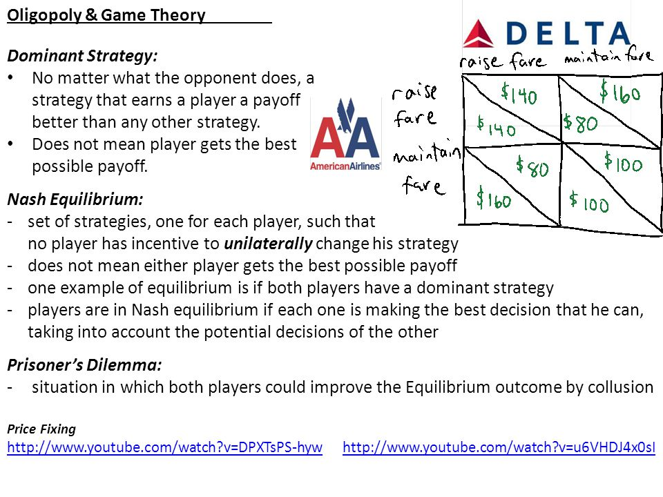 Oligopoly & Game Theory Dominant Strategy: