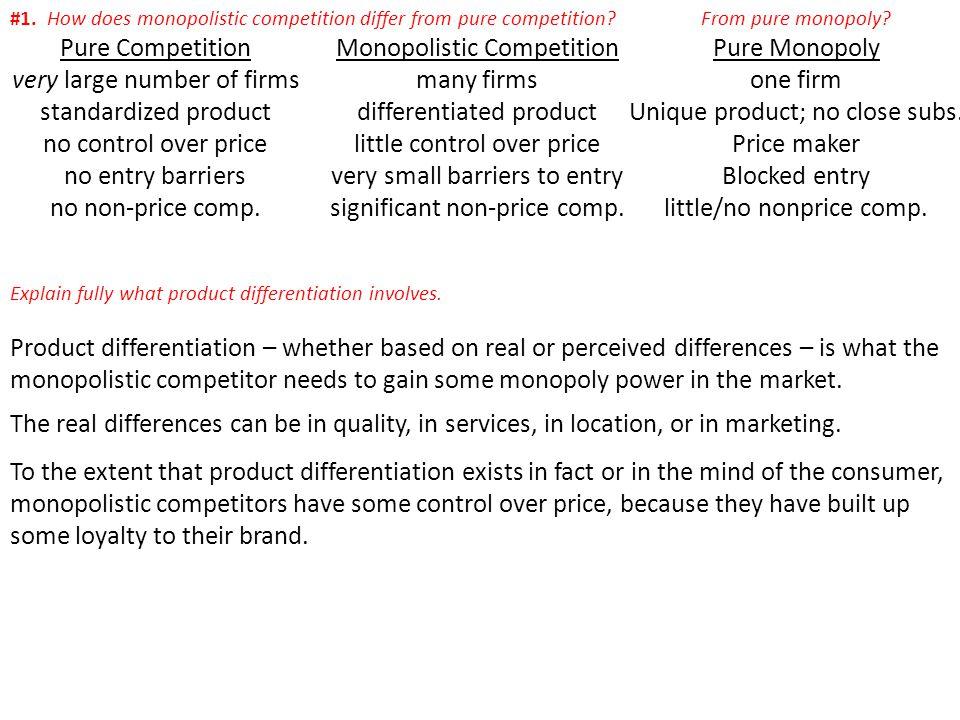 Pure Competition Monopolistic Competition