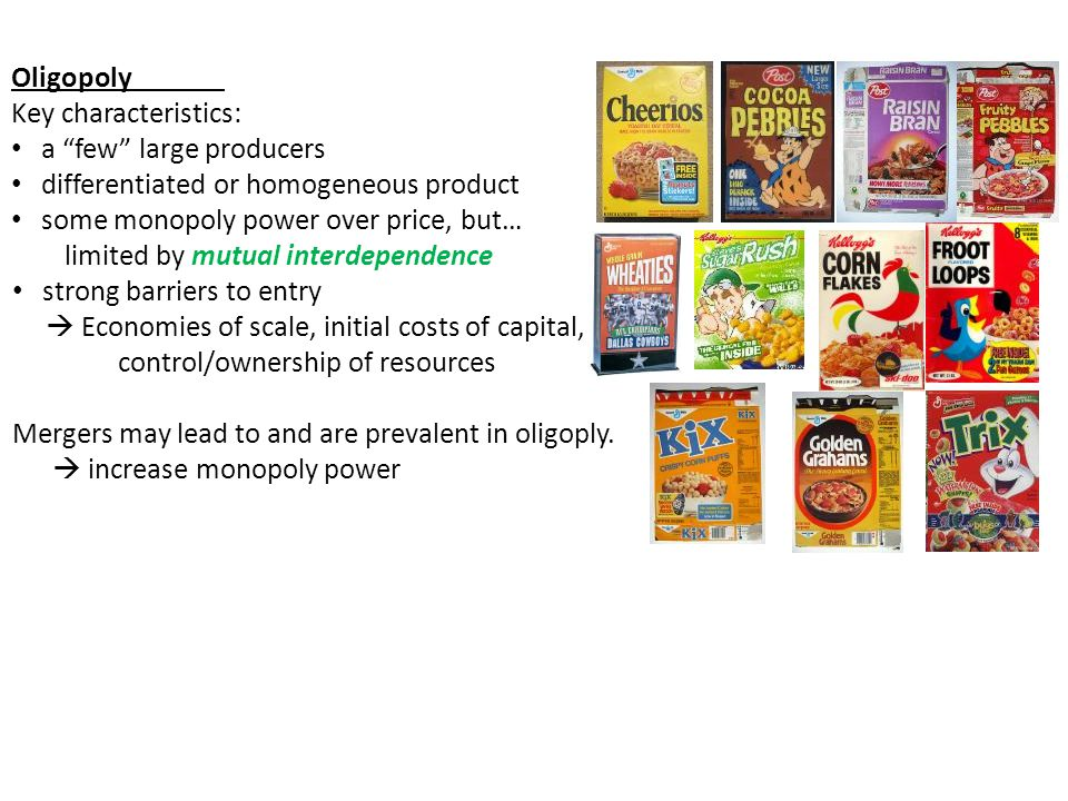 Oligopoly Key characteristics: a few large producers. differentiated or homogeneous product. some monopoly power over price, but…