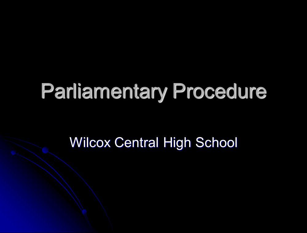 parliamentary procedure 3 introduction: parliamentary procedure define: parliamentary procedure parliamentary procedure is the rules of order used by various assemblies and organizations to keep meetings run smoothly and.