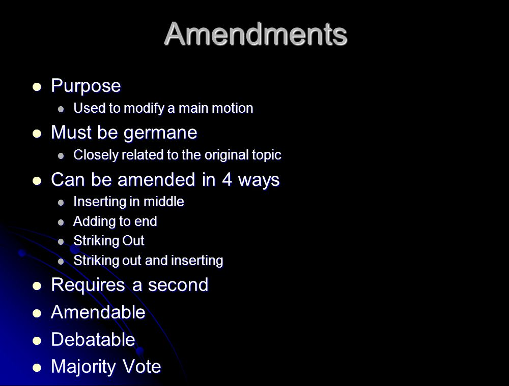 Amendments Purpose Must be germane Can be amended in 4 ways