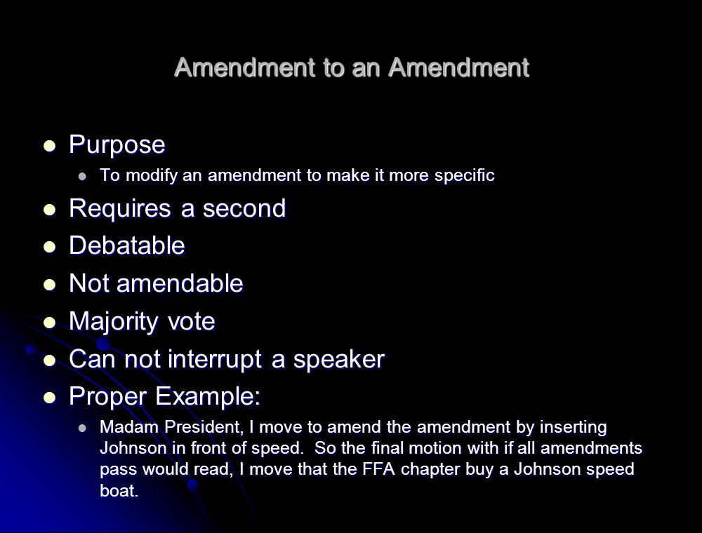 Amendment to an Amendment