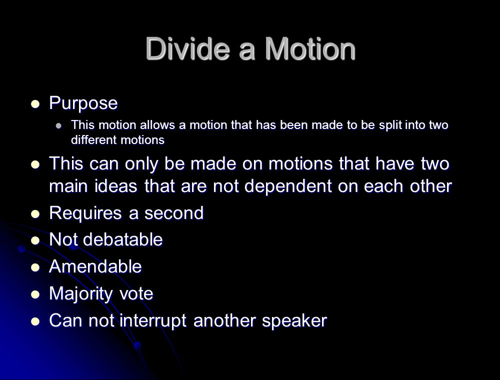 Divide a Motion Purpose