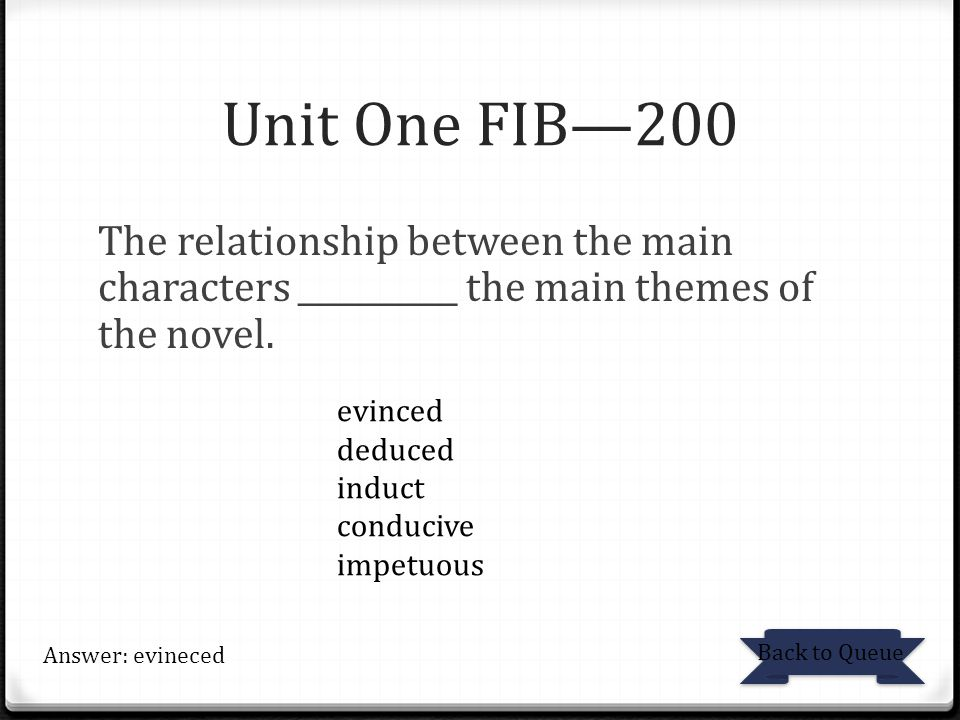 Unit One FIB—200 The relationship between the main characters __________ the main themes of the novel.