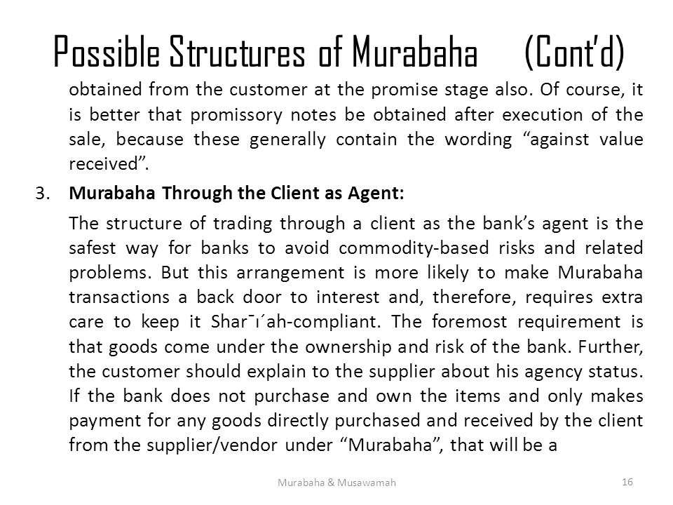 Possible Structures of Murabaha (Cont'd)